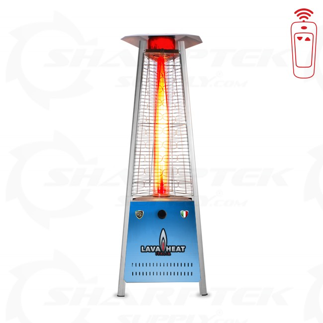 Lava Heat Italia Triangular 6 Ft Commercial Flame Led Patio Heater With Remote Natural Gas